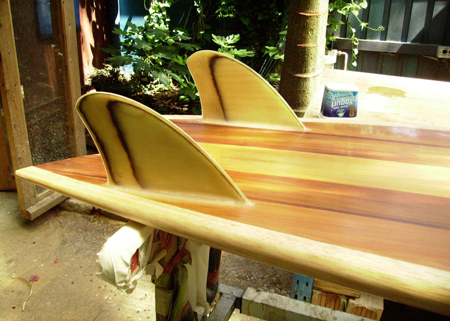 hollow wooden surfboard, fin detail