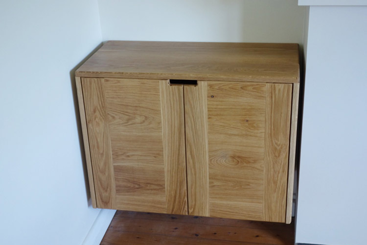 Custom made American oak floating cabinets