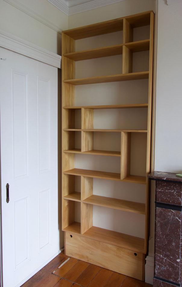 Kauri pine bookshelves custom made forfireplace recess