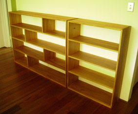 Custom made kauri pine bookshelves, finished with Danish oil