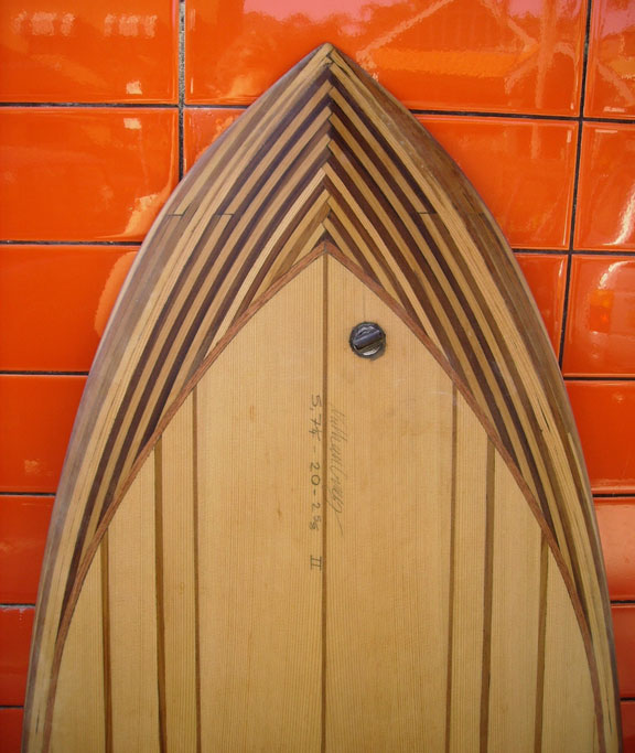 "5'7"" Fish in western red cedar – nose detail"