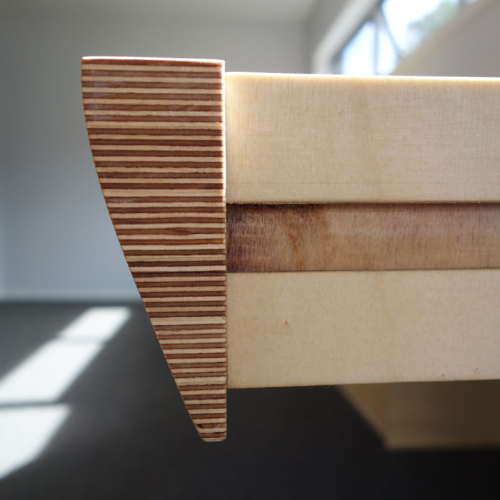 Birch ply and mahogany desk and shelves combination, drawer detail