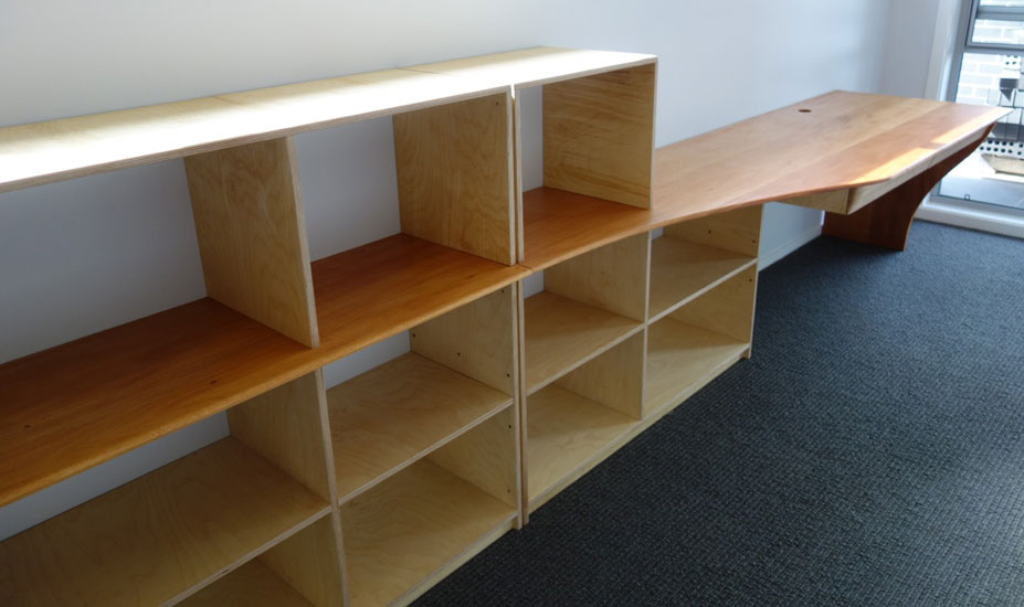 Birch ply and mahogany desk and shelves combination