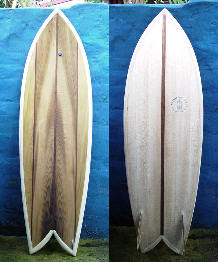 "5'9"" Twin Keel Fish, fin detail, top and bottom view"