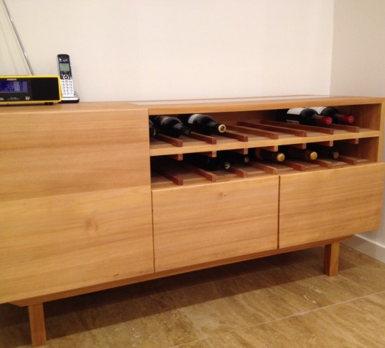 Custom made Kauri pine wine cabinet